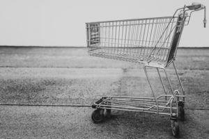 shopping cart black & white photo